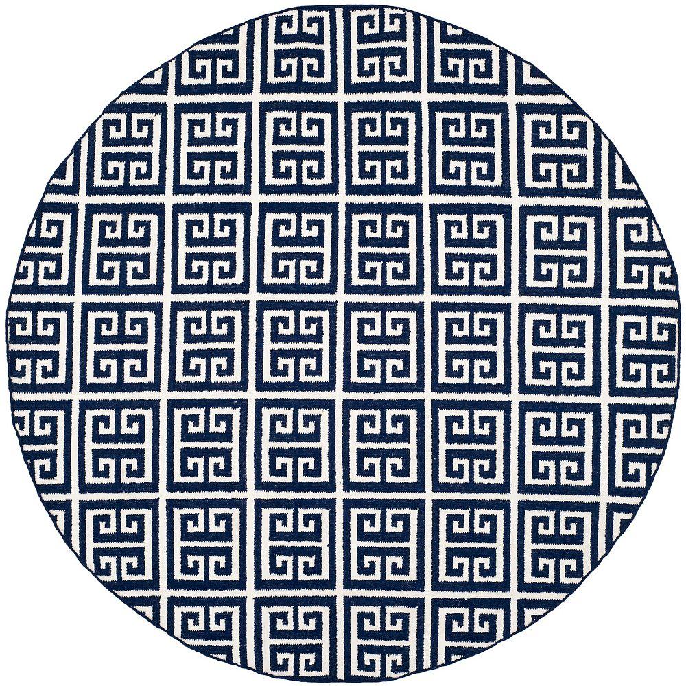 Safavieh Tapis d'intérieur rond, 7 pi x 7 pi, Dhurries Damian, marin / ivoire