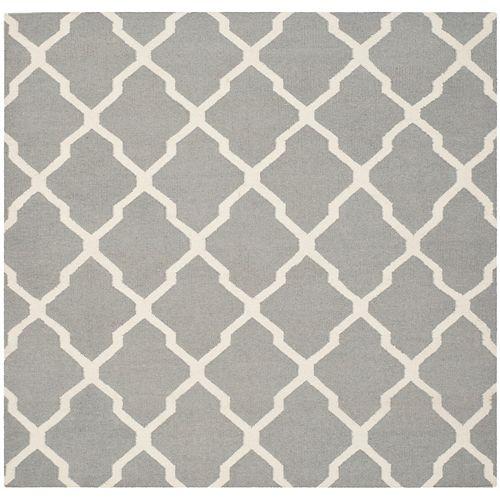 Safavieh Dhurries Flint Grey / Ivory 6 ft. x 6 ft. Indoor Square Area Rug