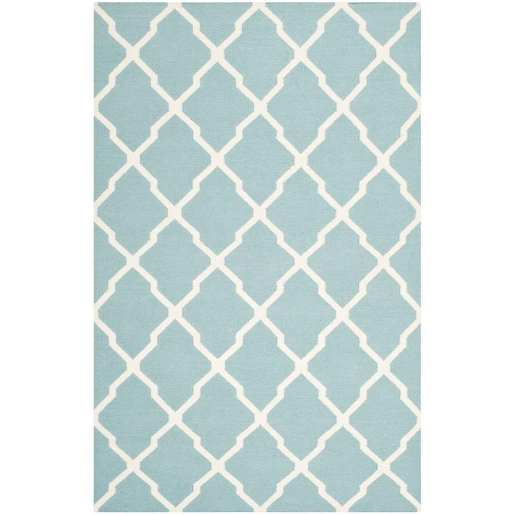 Safavieh Tapis d'intérieur, 4 pi x 6 pi, Dhurries Flint, bleu clair / ivoire