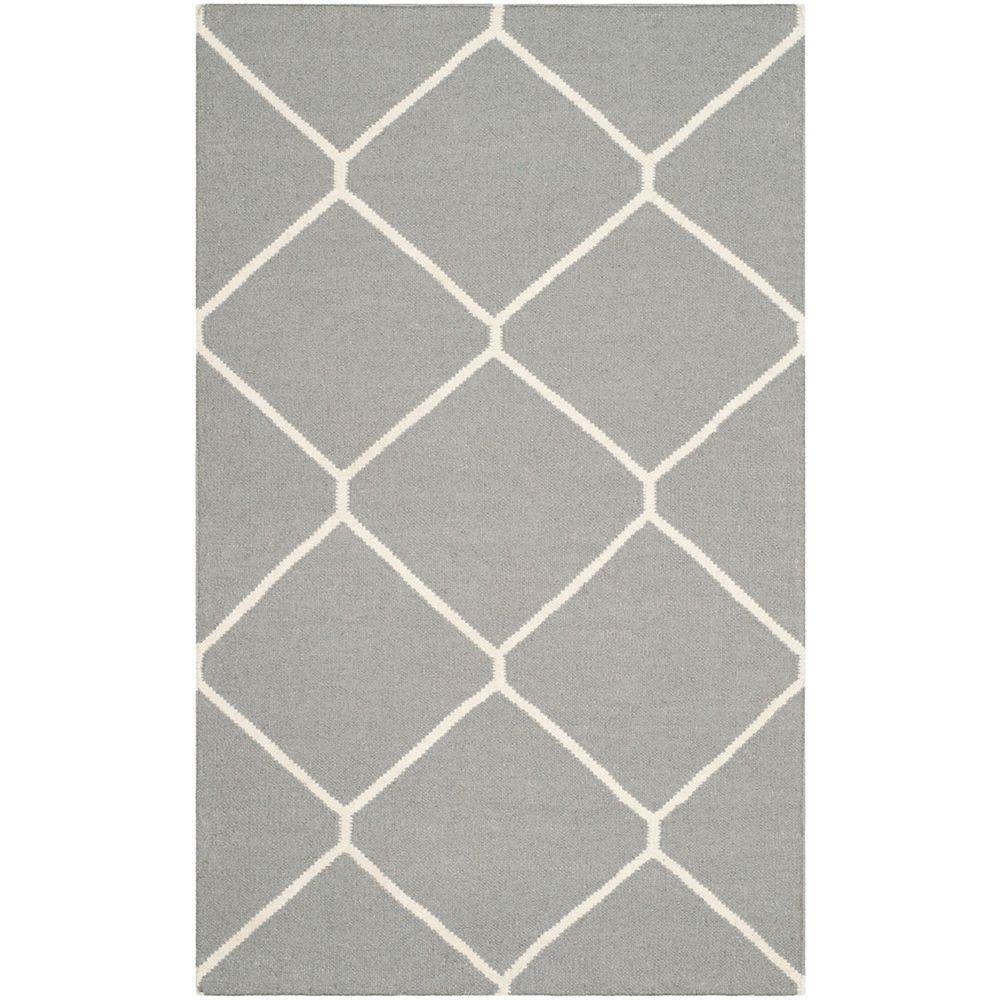 Safavieh Dhurries Garrett Grey / Ivory 3 ft. x 5 ft. Indoor Area Rug