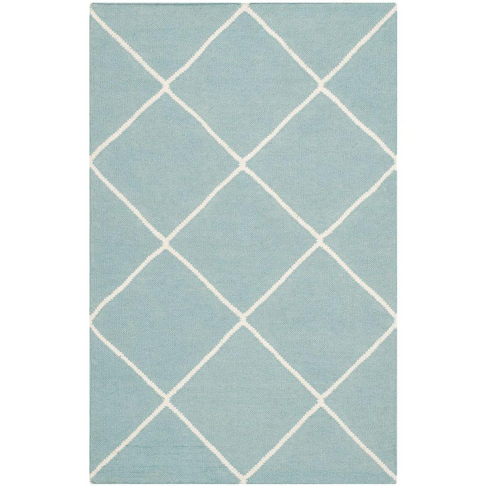 Safavieh Tapis d'intérieur, 2 pi 6 po x 4 pi, Dhurries Garrett, bleu clair / ivoire
