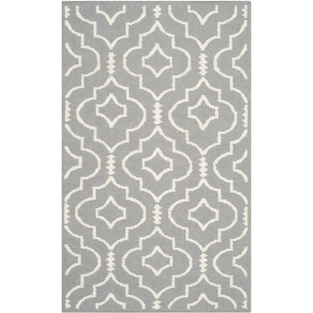 Safavieh Dhurries Issac Grey / Ivory 2 ft. 6 inch x 4 ft. Indoor Area Rug
