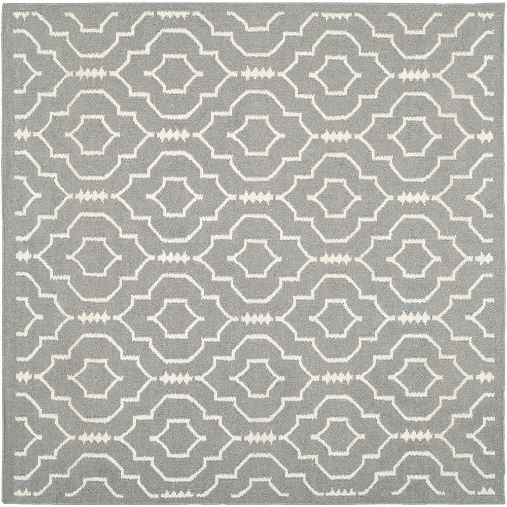 Safavieh Dhurries Issac Grey / Ivory 6 ft. x 6 ft. Indoor Square Area Rug