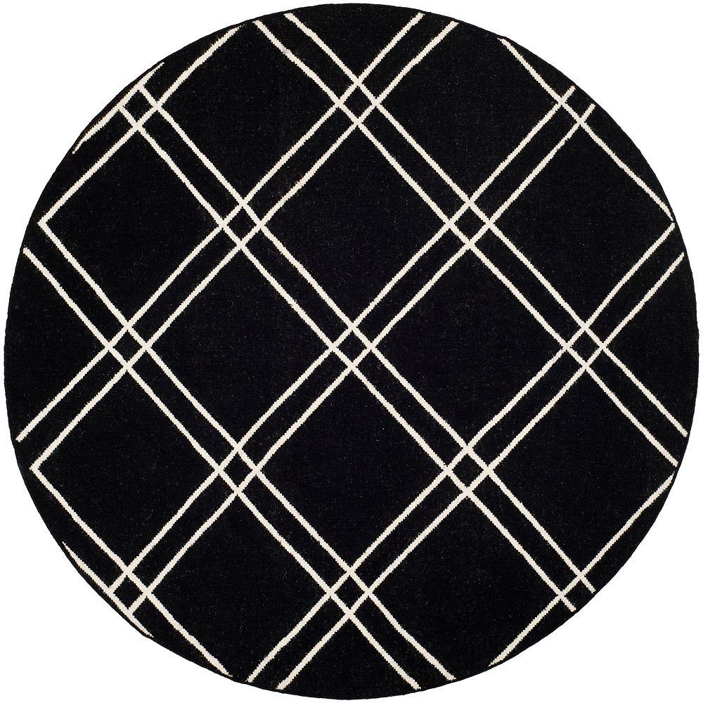 Safavieh Tapis d'intérieur rond, 6 pi x 6 pi, Dhurries Frances, noir / ivoire