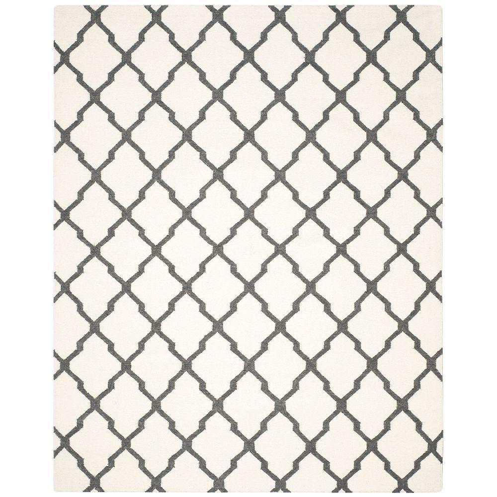 Safavieh Tapis d'intérieur, 8 pi x 10 pi, Dhurries Jayce, ivoire / gris charbon