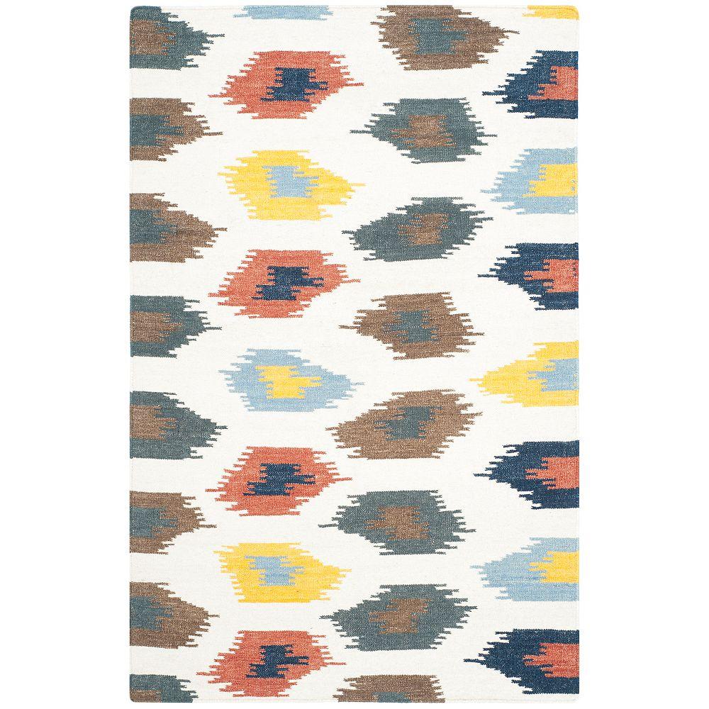Safavieh Tapis d'intérieur, 4 pi x 6 pi, Dhurries Trent, ivoire / multi