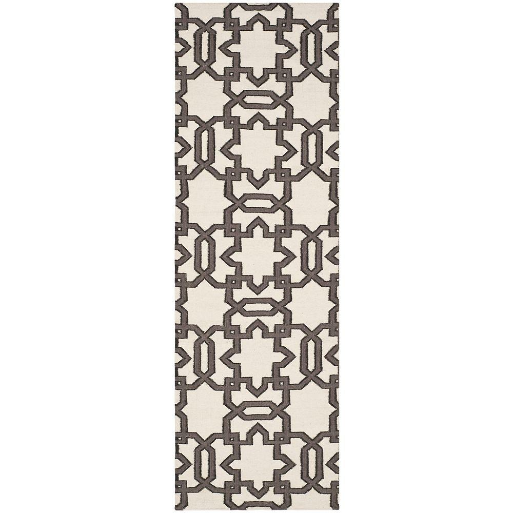 Safavieh Tapis de passage d'intérieur, 2 pi 6 po x 8 pi, Dhurries Zola, ivoire / gris