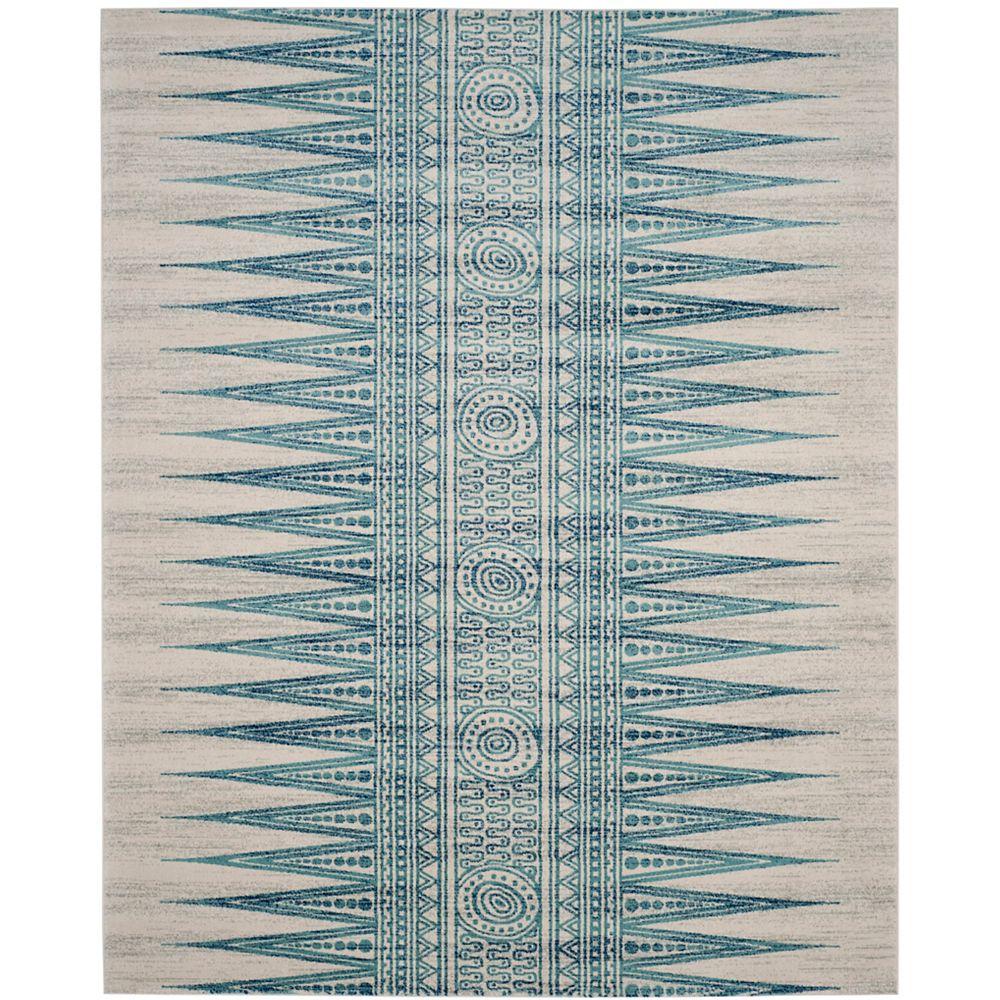 Safavieh Tapis d'intérieur, 8 pi x 10 pi, Evoke Sabrina, ivoire / turquoise