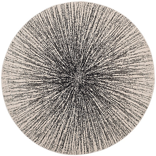 Evoke Martin Black / Ivory 6 ft. 7-inch x 6 ft. 7-inch Indoor Round Area Rug