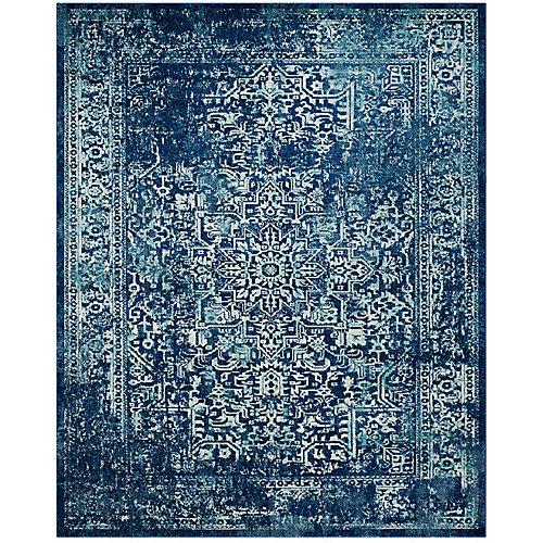 Carpette d'intérieur Evoke Eric, 8 pi x 10 pi, bleu marine/ivoire