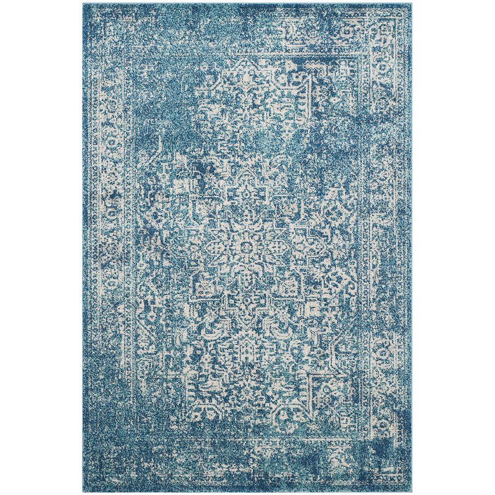 Safavieh Carpette d'intérieur Evoke Eric, 5 pi 1 po x 7 pi 6 po, bleu/ivoire