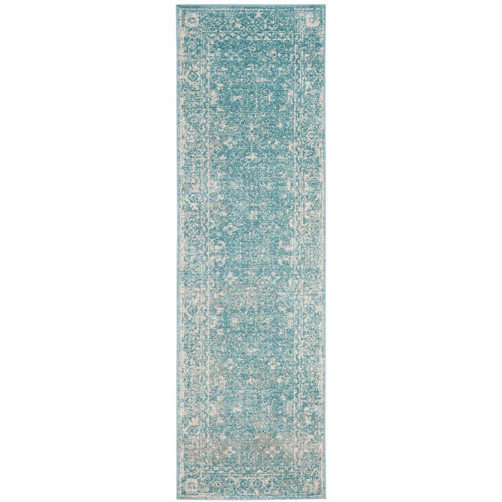 Safavieh Tapis de passage d'intérieur, 2 pi 2 po x 7 pi, Evoke Emma, bleu clair / ivoire