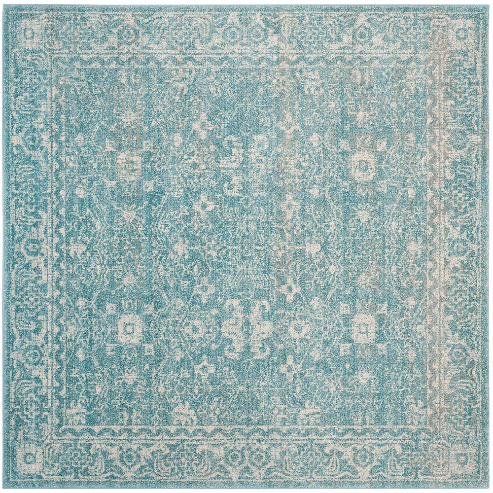 Safavieh Tapis d'intérieur carré, 5 pi 1 po x 5 pi 1 po, Evoke Emma, bleu clair / ivoire