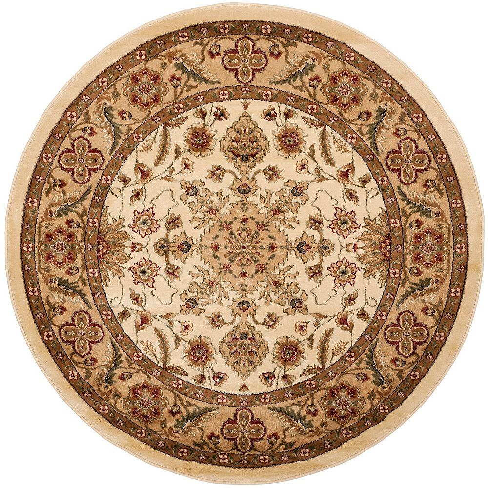 Safavieh Tapis d'intérieur rond, 8 pi x 8 pi, Lyndhurst Cory, ivoire / tan