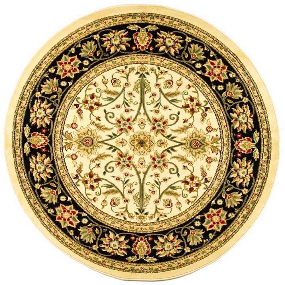 Safavieh Tapis d'intérieur rond, 8 pi x 8 pi, Lyndhurst Byron, ivoire / noir