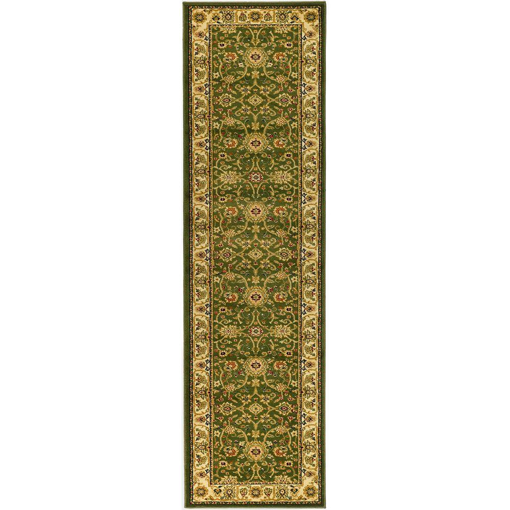 Safavieh Tapis de passage d'intérieur, 2 pi 3 po x 16 pi, Lyndhurst Byron, vert sauge / ivoire
