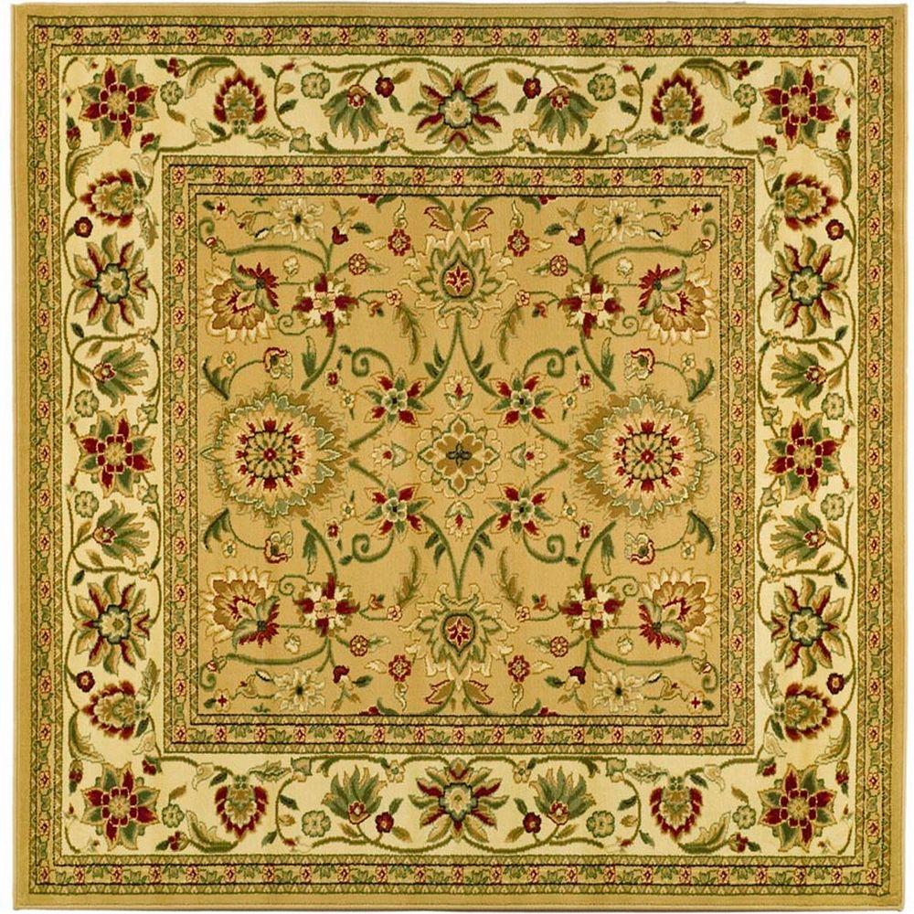 Safavieh Tapis d'intérieur carré, 8 pi x 8 pi, Lyndhurst Byron, beige / ivoire