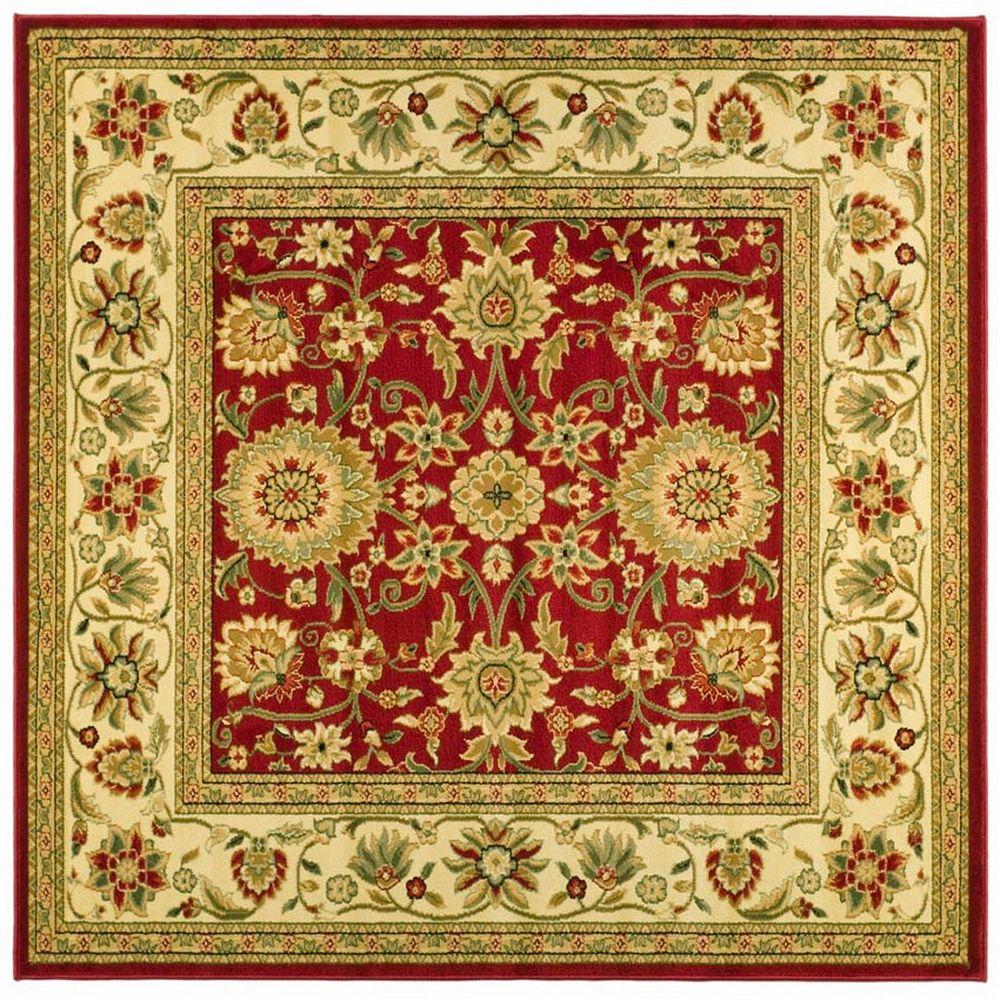 Safavieh Tapis d'intérieur carré, 6 pi x 6 pi, Lyndhurst Byron, rouge / ivoire