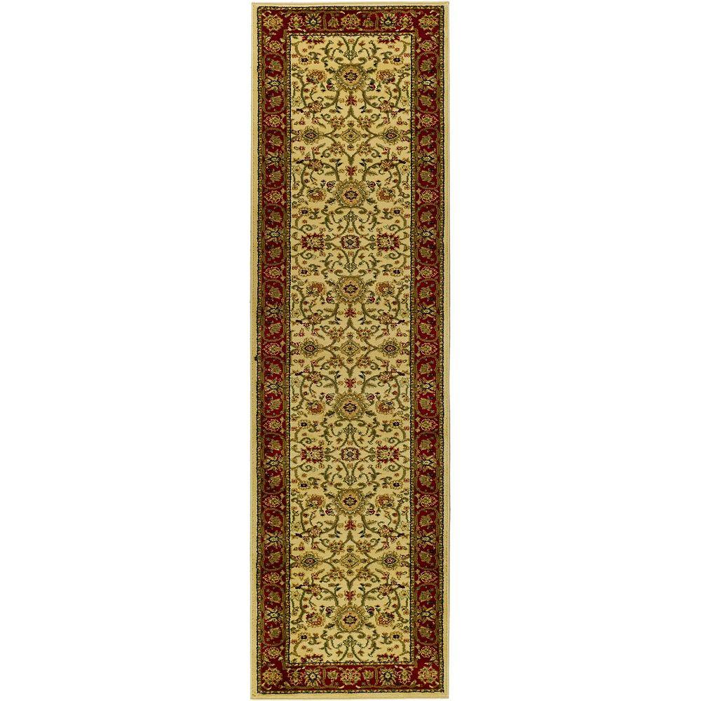 Safavieh Tapis de passage d'intérieur, 2 pi 3 po x 12 pi, Lyndhurst Byron, ivoire / rouge