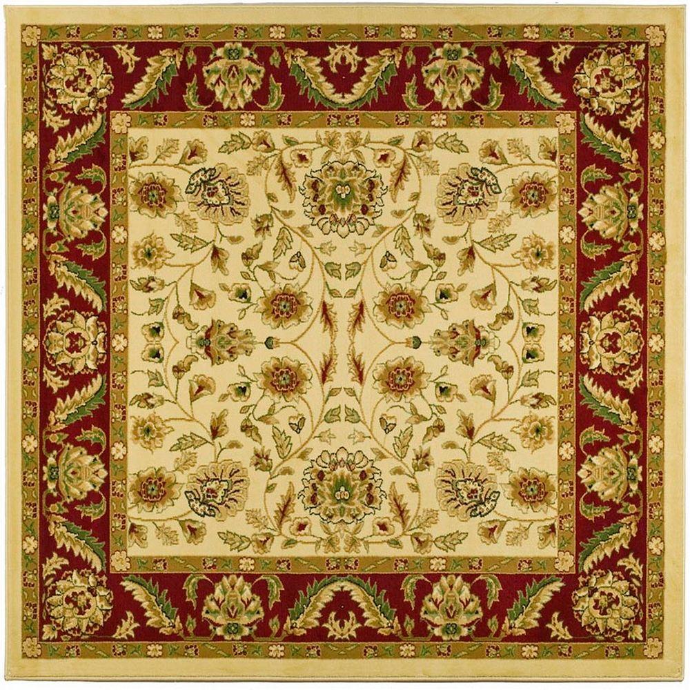 Safavieh Tapis d'intérieur carré, 6 pi x 6 pi, Lyndhurst Dani, ivoire / rouge