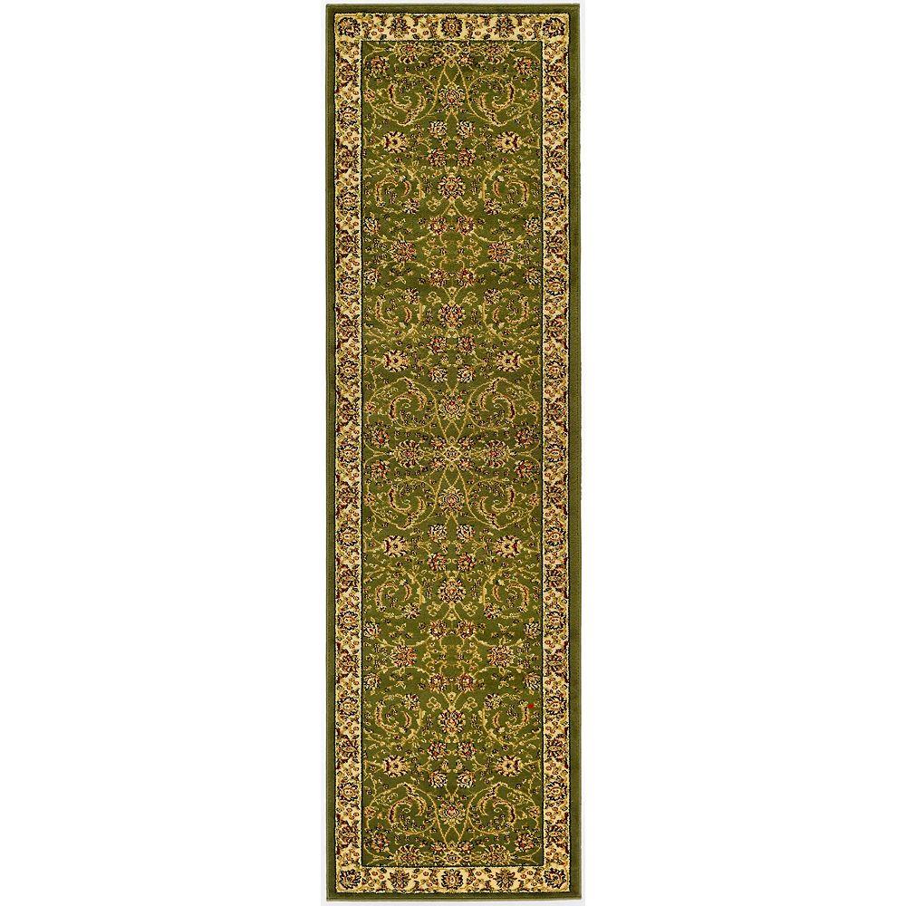 Safavieh Tapis de passage d'intérieur, 2 pi 3 po x 16 pi, Lyndhurst Elton, vert sauge / ivoire