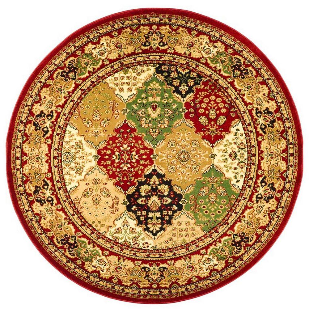 Safavieh Tapis d'intérieur rond, 8 pi x 8 pi, Lyndhurst Emir, multi / rouge
