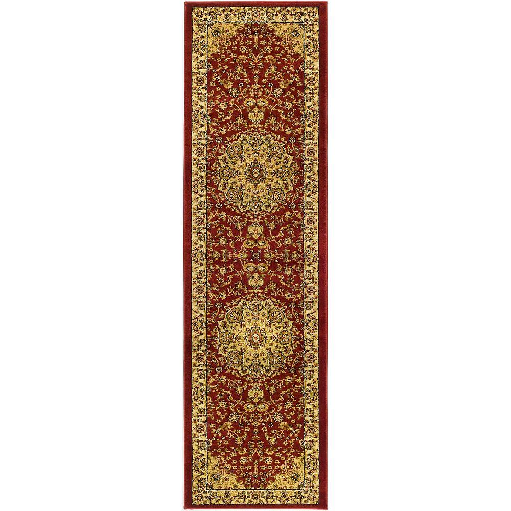 Safavieh Tapis de passage d'intérieur, 2 pi 3 po x 14 pi, Lyndhurst Bora, rouge / ivoire