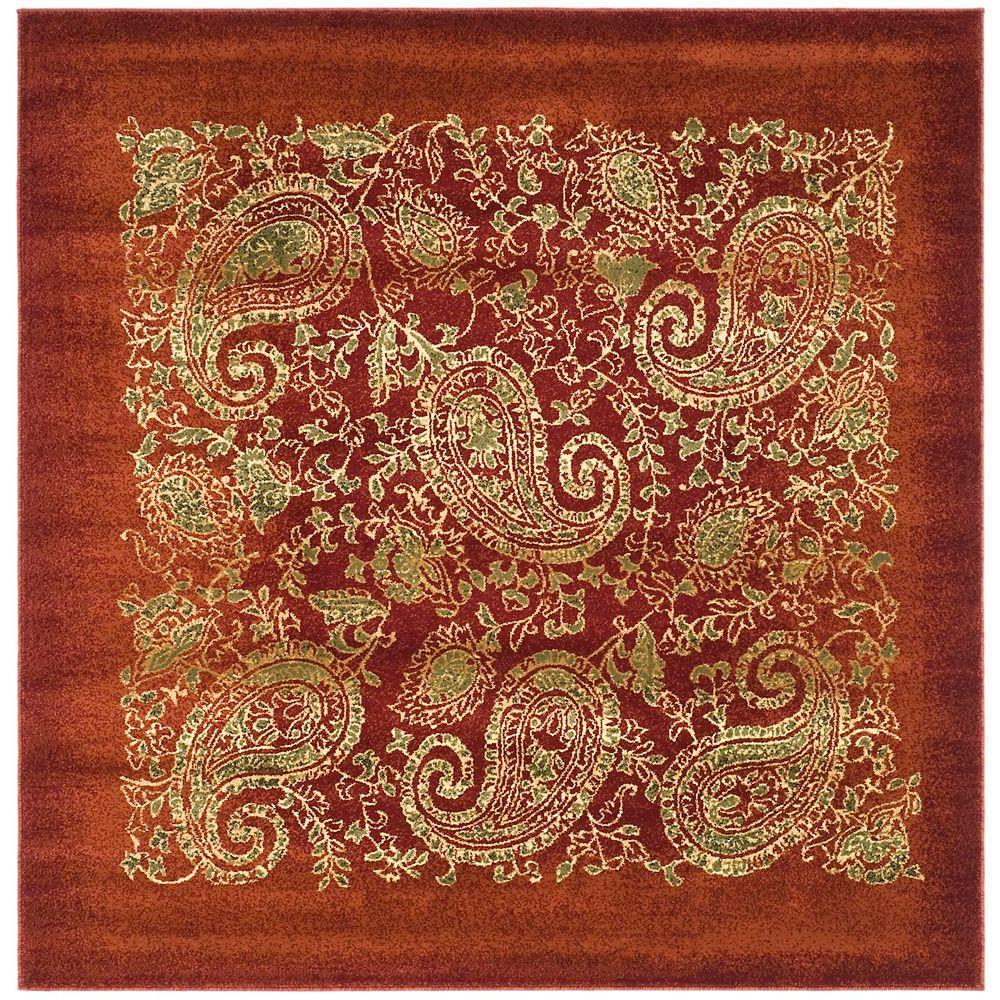 Safavieh Tapis d'intérieur carré, 8 pi x 8 pi, Lyndhurst Devon, rouge / multi