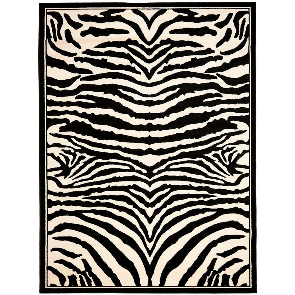 Safavieh Tapis d'intérieur, 8 pi x 11 pi, Lyndhurst Bruce, blanc / noir