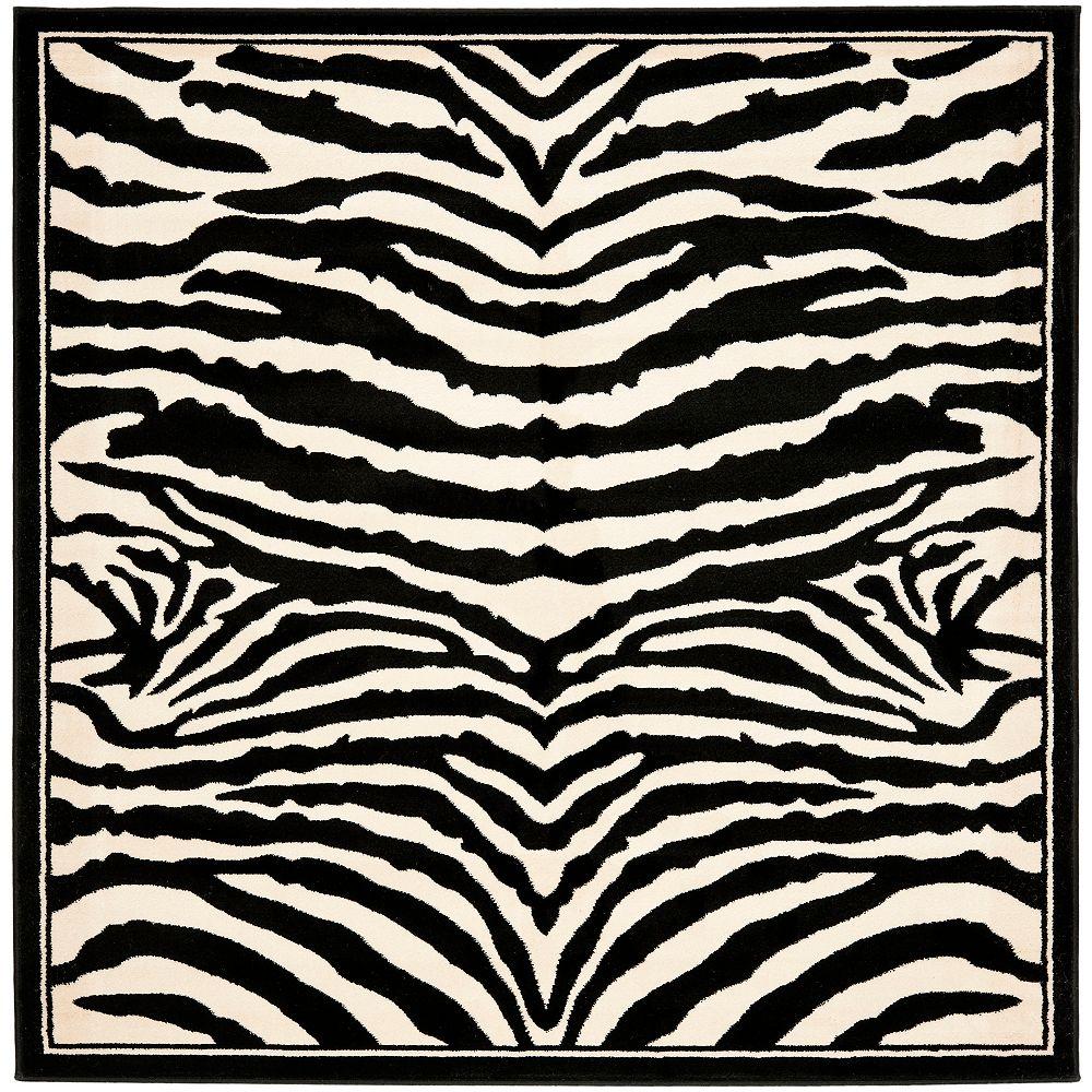 Safavieh Tapis d'intérieur carré, 8 pi x 8 pi, Lyndhurst Bruce, blanc / noir