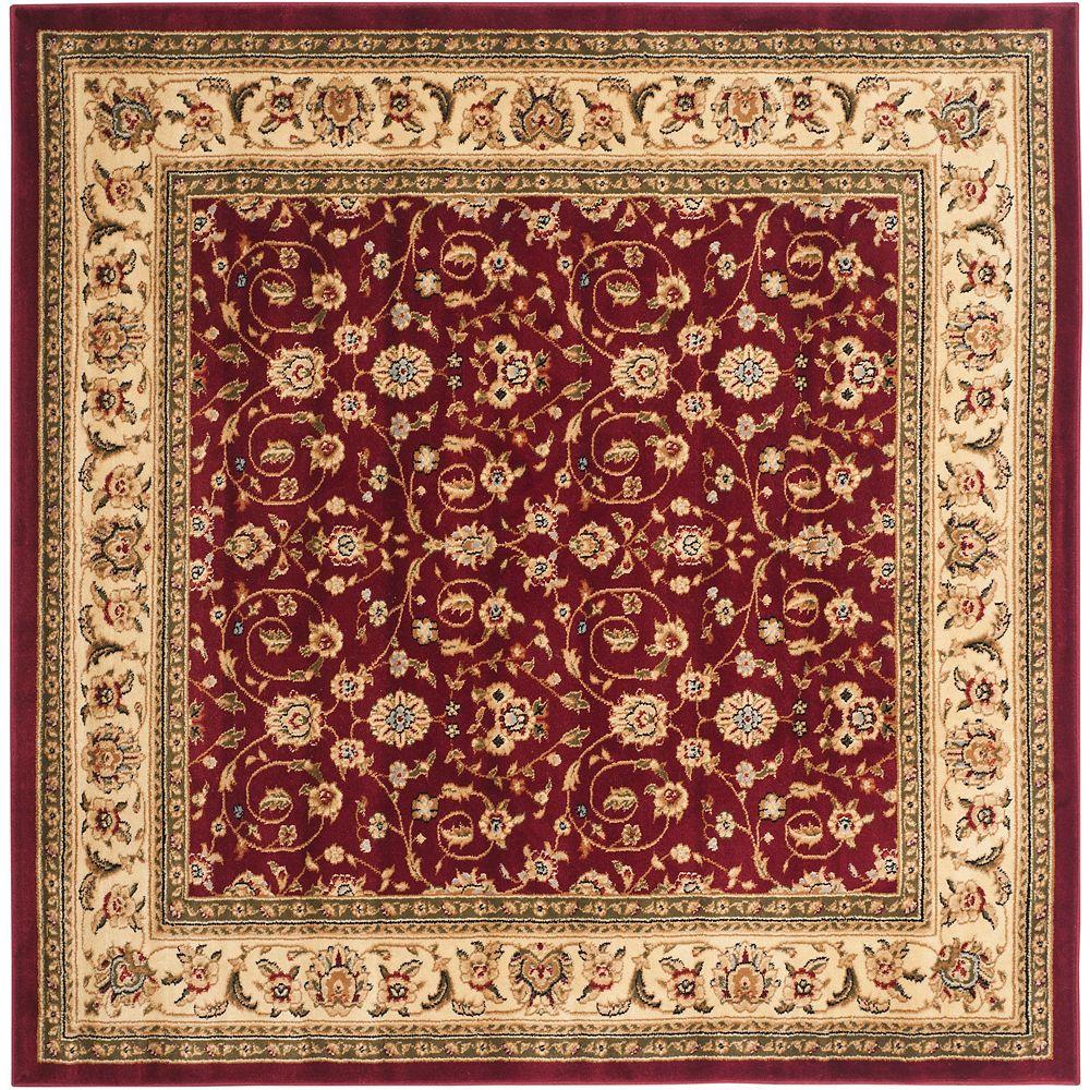 Safavieh Tapis d'intérieur carré, 8 pi x 8 pi, Lyndhurst Adria, rouge / ivoire