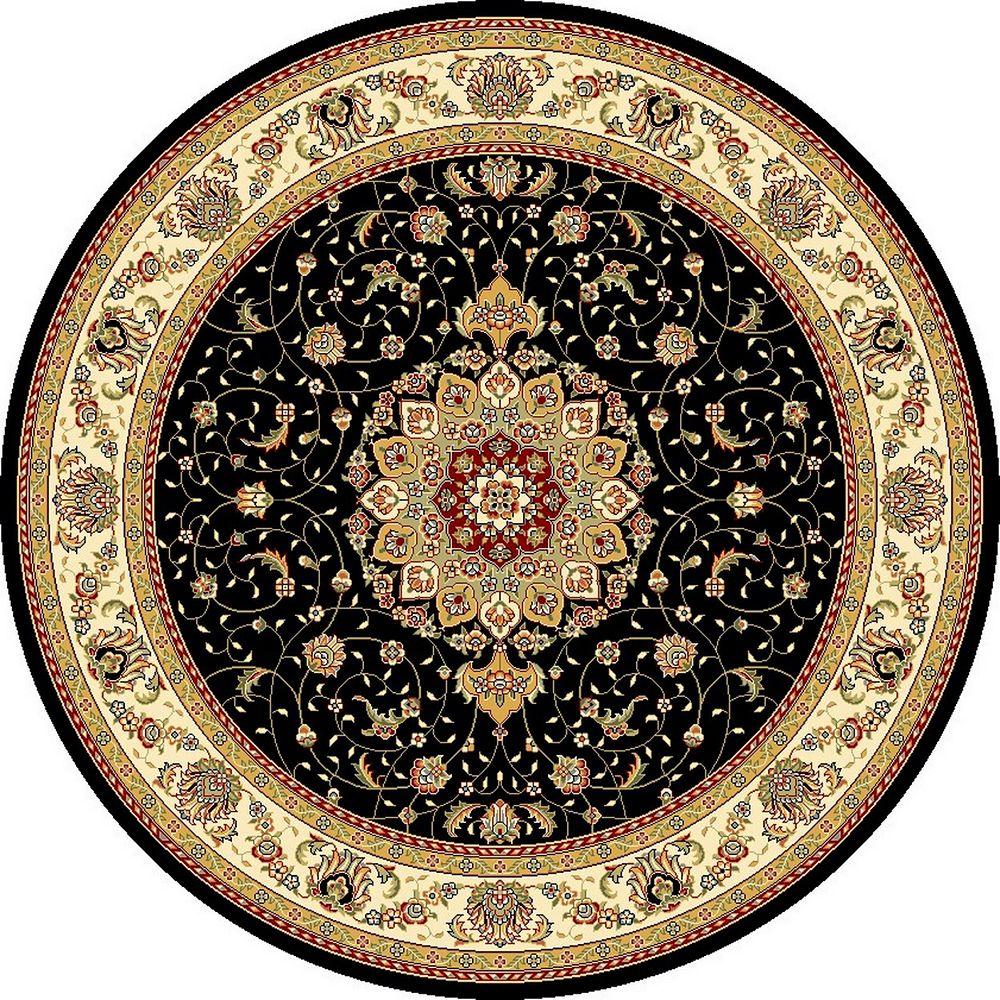 Safavieh Tapis d'intérieur rond, 8 pi x 8 pi, Lyndhurst Gavin, noir / ivoire