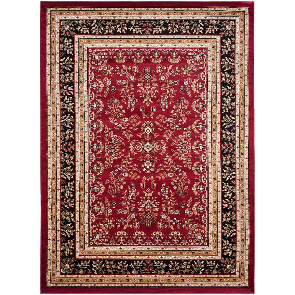 Safavieh Tapis d'intérieur, 8 pi x 11 pi, Lyndhurst Greta, rouge / noir