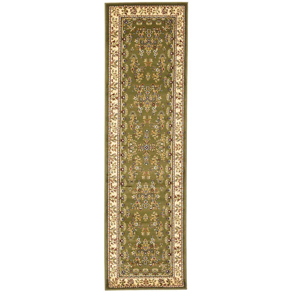 Safavieh Tapis de passage d'intérieur, 2 pi 3 po x 14 pi, Lyndhurst Greta, vert sauge / ivoire