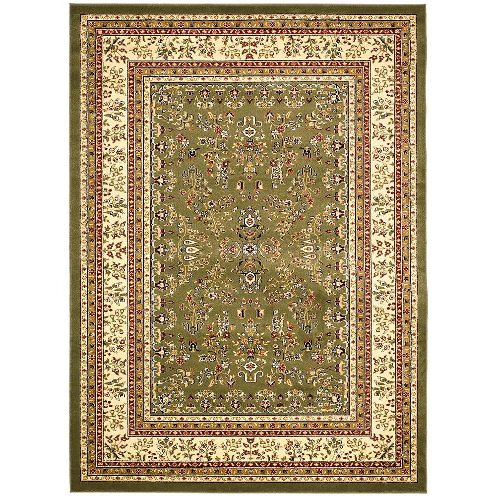 Safavieh Tapis d'intérieur, 8 pi x 11 pi, Lyndhurst Greta, vert sauge / ivoire