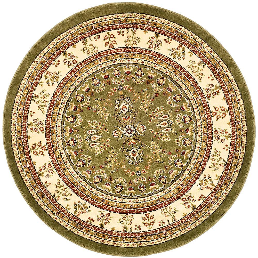 Safavieh Tapis d'intérieur rond, 8 pi x 8 pi, Lyndhurst Greta, vert sauge / ivoire