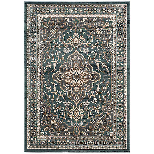 Lyndhurst Holly Teal / Grey 5 ft. 3 inch x 7 ft. 6 inch Indoor Area Rug