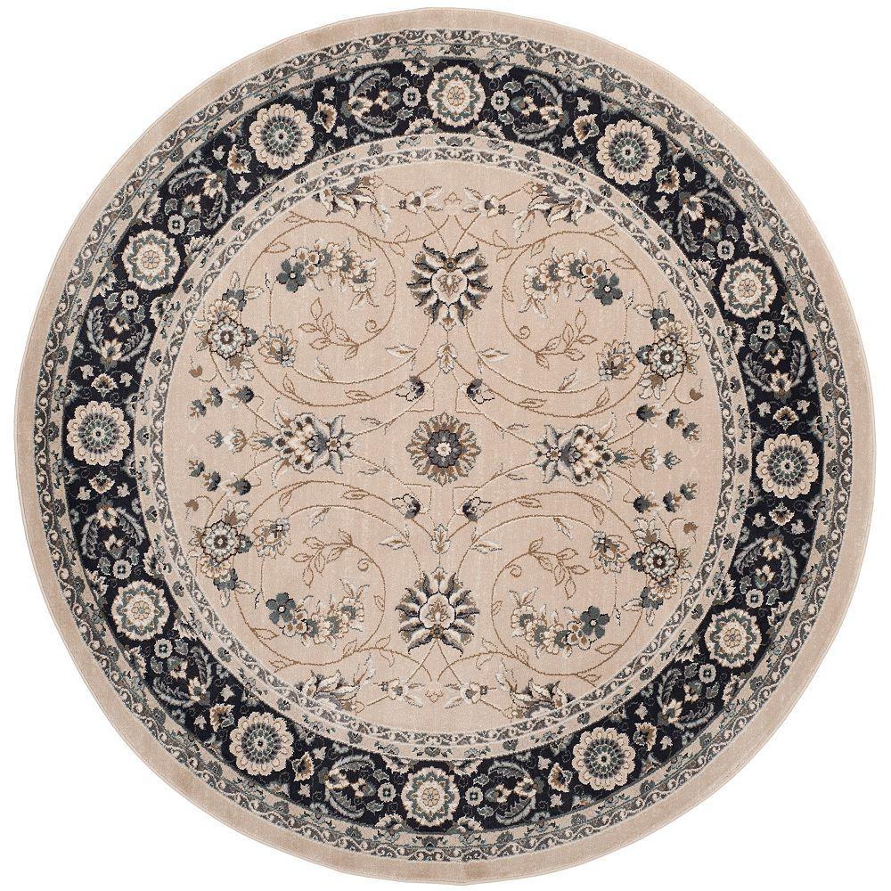 Safavieh Tapis d'intérieur rond, 7 pi x 7 pi, Lyndhurst Alec, beige clair / anthracite