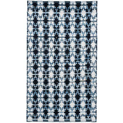 Safavieh Montauk Cris Ivory Blue / Black 2 ft. 6 inch x 4 ft. Indoor Area Rug