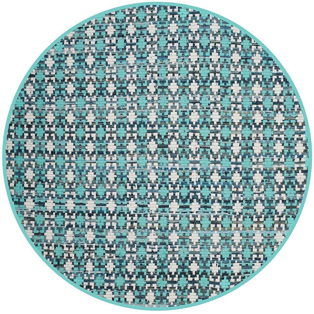 Safavieh Tapis d'intérieur rond, 6 pi x 6 pi, Montauk Cris, turquoise / multi
