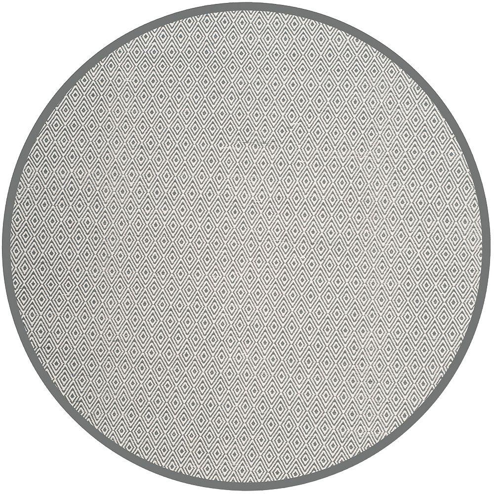 Safavieh Montauk Rachel Ivory / Grey 4 ft. x 4 ft. Indoor Round Area Rug