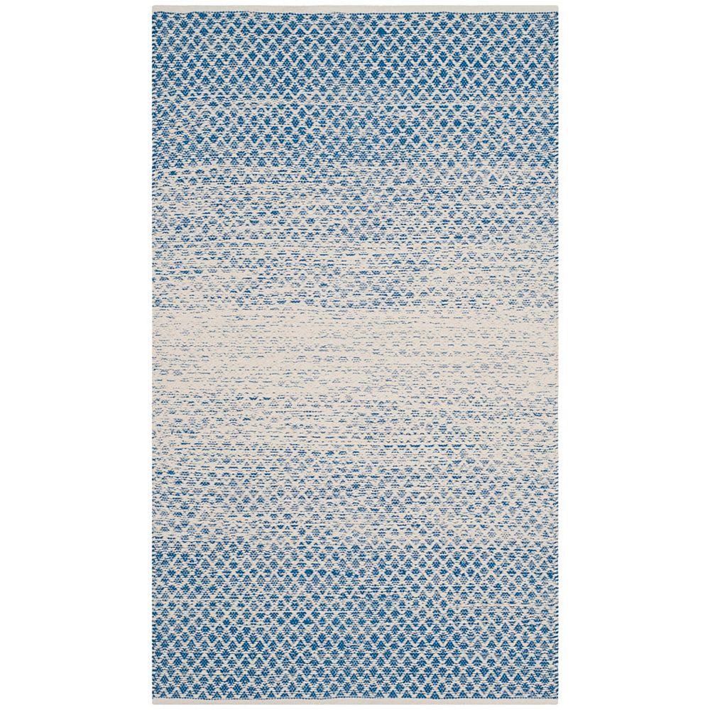 Safavieh Tapis d'intérieur, 3 pi x 5 pi, Montauk Aimee, bleu / ivoire