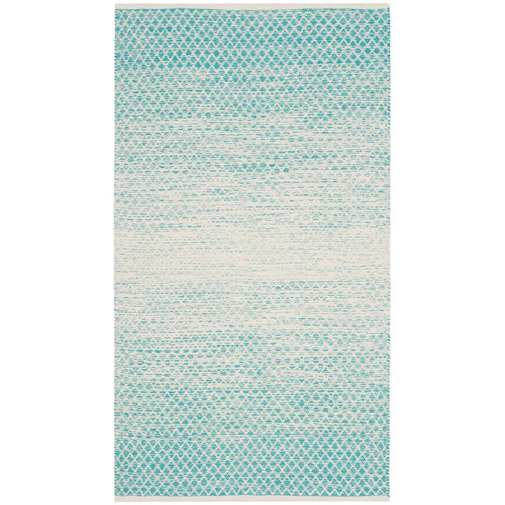 Safavieh Tapis d'intérieur, 3 pi x 5 pi, Montauk Aimee, turquoise / ivoire