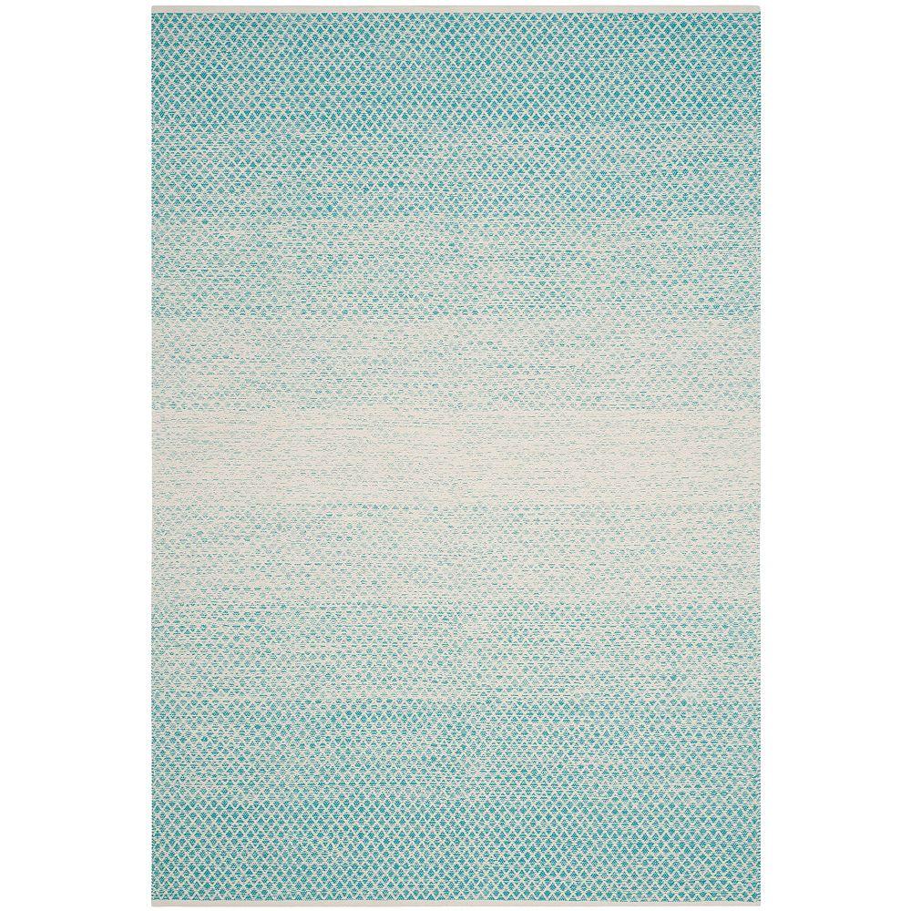 Safavieh Tapis d'intérieur, 5 pi x 8 pi, Montauk Aimee, turquoise / ivoire