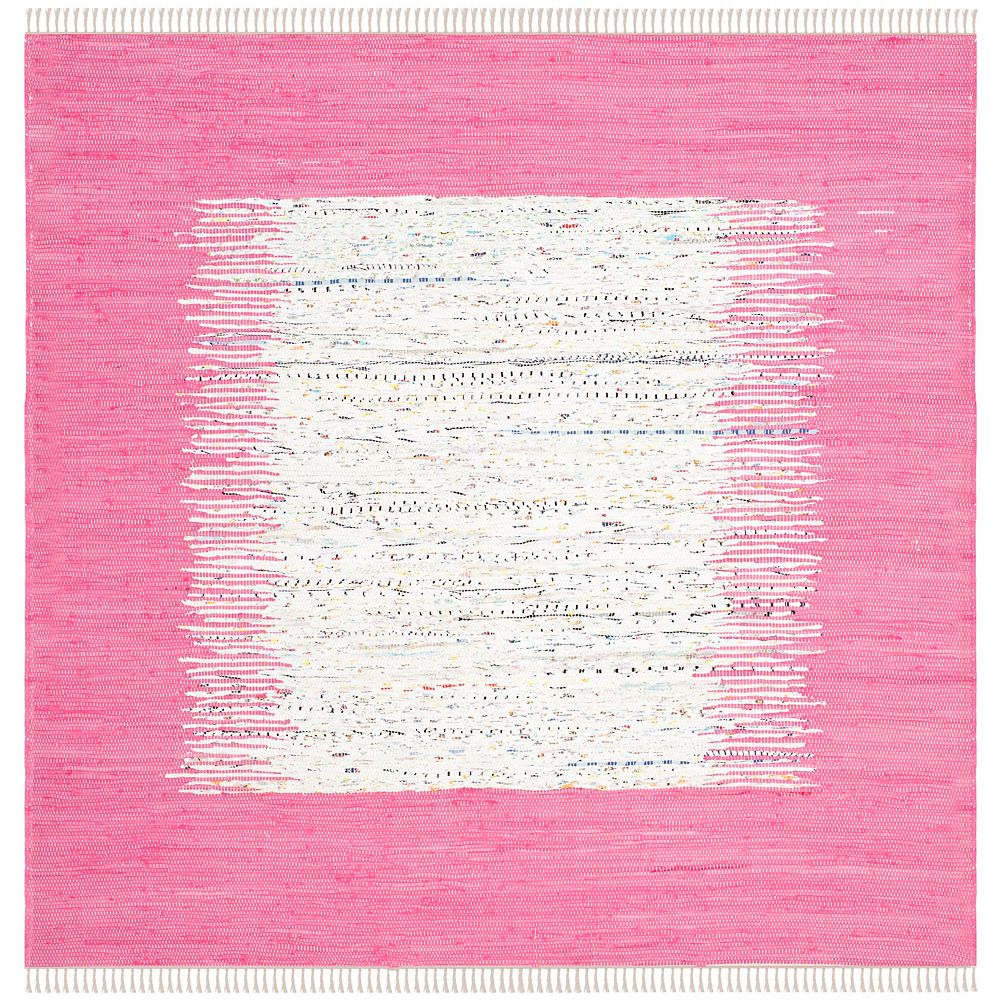 Safavieh Tapis d'intérieur carré, 4 pi x 4 pi, Montauk Delroy, ivoire / rose