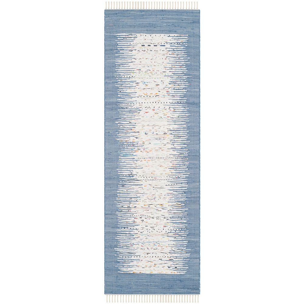 Safavieh Tapis de passage d'intérieur, 2 pi 3 po x 6 pi, Montauk Delroy, ivoire / bleu foncé