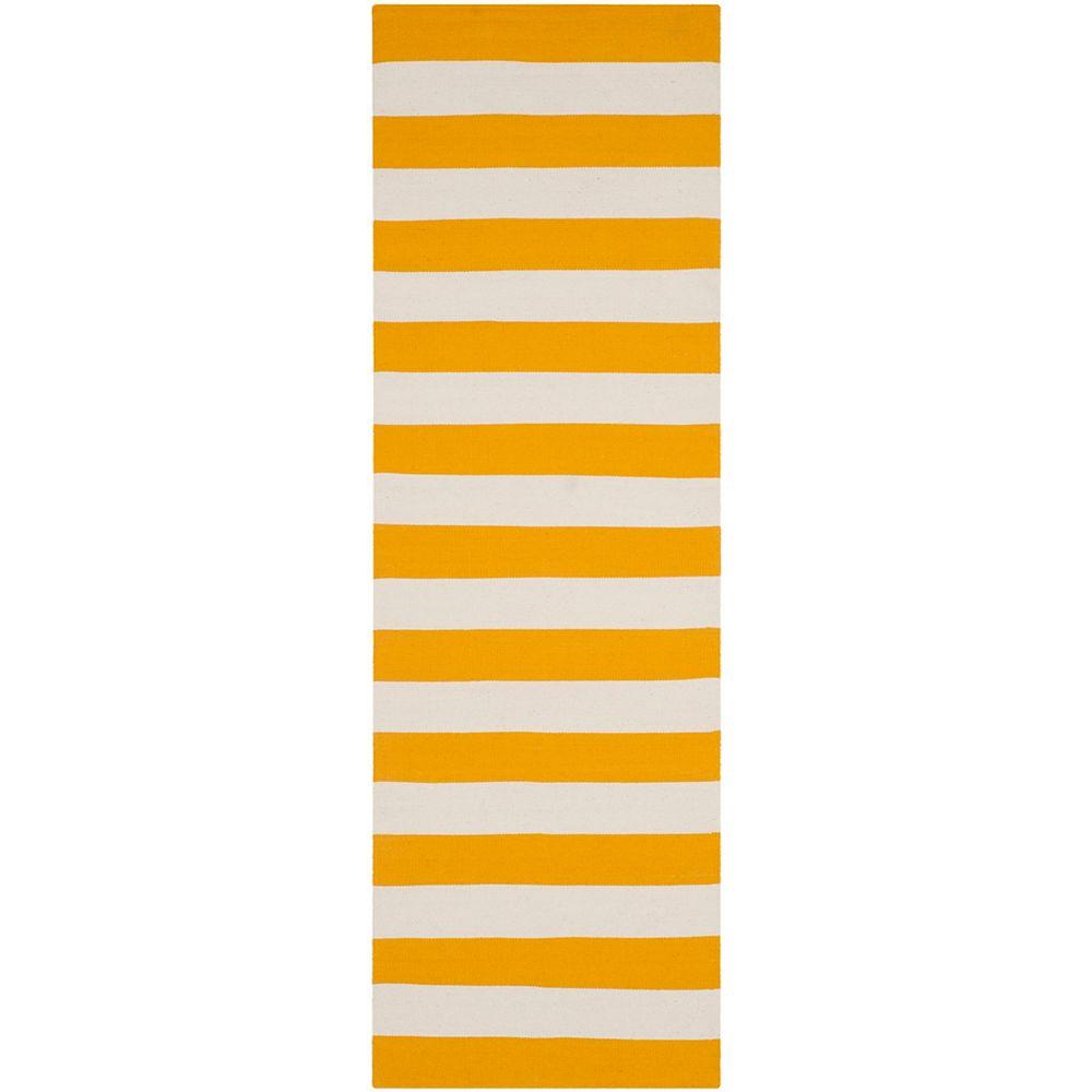 Safavieh Tapis de passage d'intérieur, 2 pi 3 po x 6 pi, Montauk Keith, jaune / ivoire