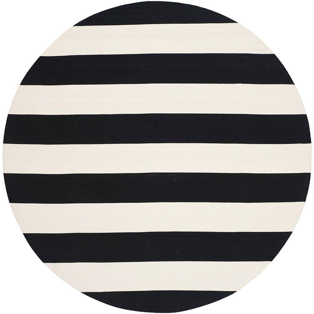 Safavieh Montauk Keith Black / Ivory 4 ft. x 4 ft. Indoor Round Area Rug