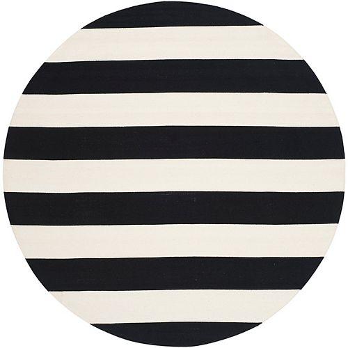 Montauk Keith Black / Ivory 4 ft. x 4 ft. Indoor Round Area Rug