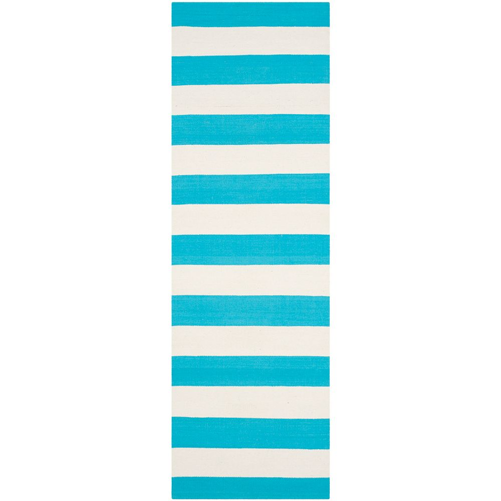 Safavieh Tapis de passage d'intérieur, 2 pi 3 po x 7 pi, Montauk Keith, turquoise / ivoire